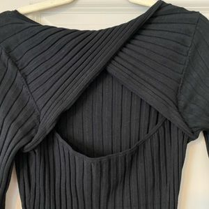 NEW H&M Black Wrap-Back Sweater